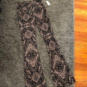Wide leg crazy print pants